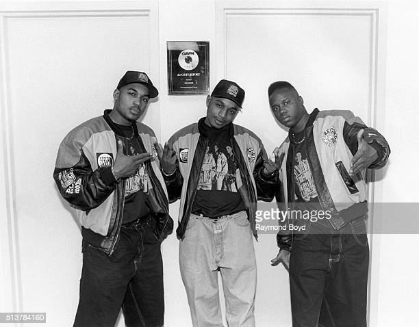 Shazam Dino and GI from HTown poses for photos after their performance at the Marcus Amphitheatre in Milwaukee Wisconsin in 1995