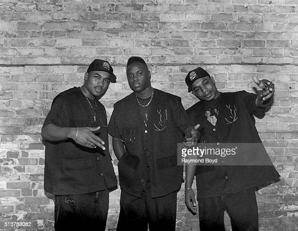 Shazam GI and Dino from HTown poses for photos after their performance at the Marcus Amphitheatre in Milwaukee Wisconsin in 1995