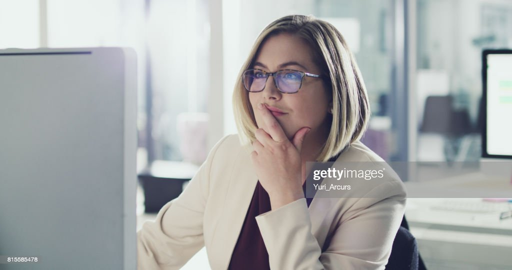 She always thinks before she acts : Stock Photo