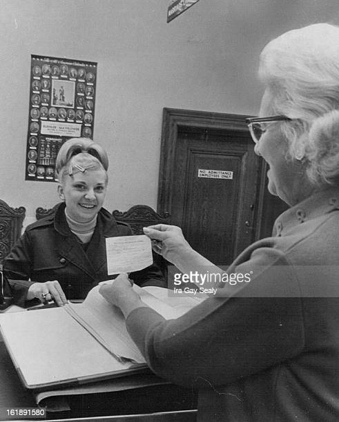 FEB 26 1968 FEB 29 1968 She Avoided ihe Rush for Marriage Licenses Miss Karyn Quince left of Melbourne Fla was the first to get a marriage license on...