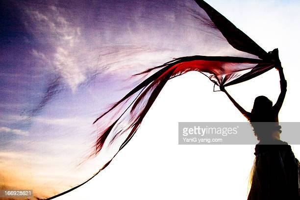 she brings the sunset - belly dancing stock photos and pictures