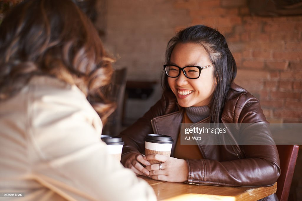 She can talk to her best friend about anything : Stock Photo