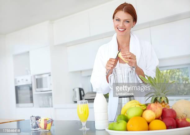 She follows a healthy eating plan