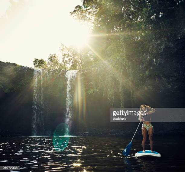 she found peace on top of a paddle board - wilderness stock pictures, royalty-free photos & images