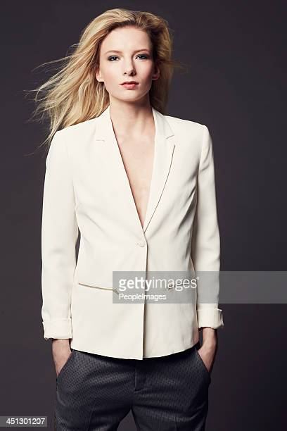 she has a natural style - blazer jacket stock pictures, royalty-free photos & images