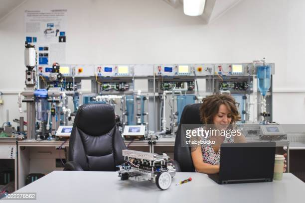 she has a passion for science - electrical component stock photos and pictures