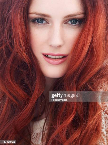 she has fire in her eyes - dyed red hair stock pictures, royalty-free photos & images