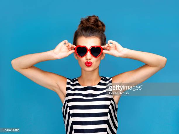 she has love in her eyes - sunglasses stock photos and pictures