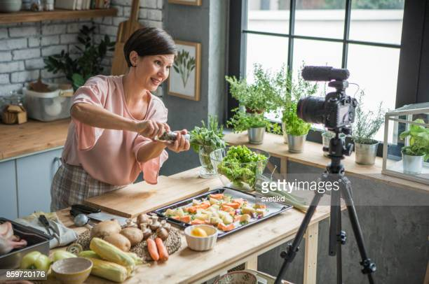 She is enjoying at cooking and vlogging