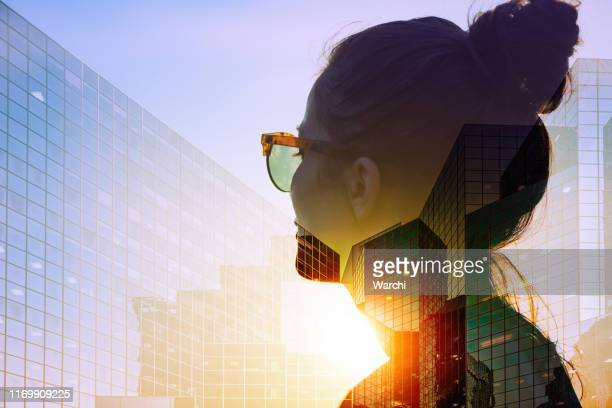 she is thinking of new strategies - multiple exposure stock pictures, royalty-free photos & images