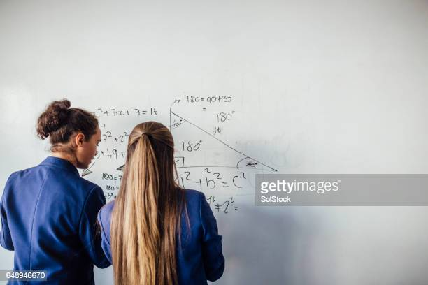 she loves mathematics - rear view photos stock photos and pictures