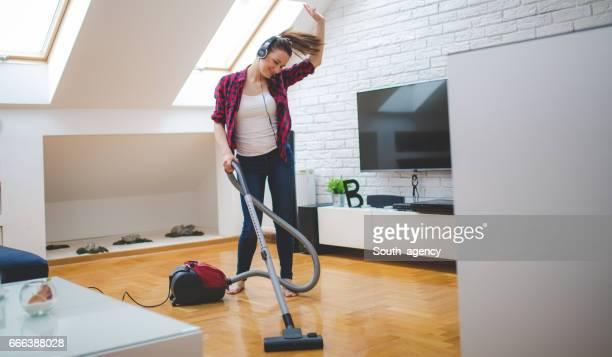 She loves vacuuming