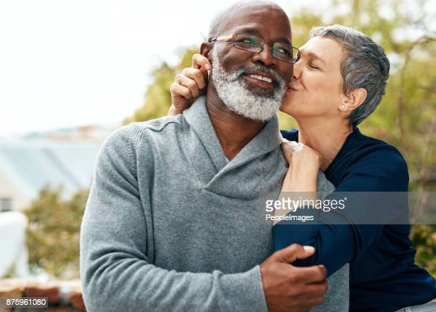 she makes my day, everyday - black men kissing white women stock photos and pictures