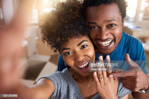 she said yes! - engagement ring box stock photos and pictures