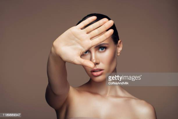 she saying you to stop - stop sign stock pictures, royalty-free photos & images