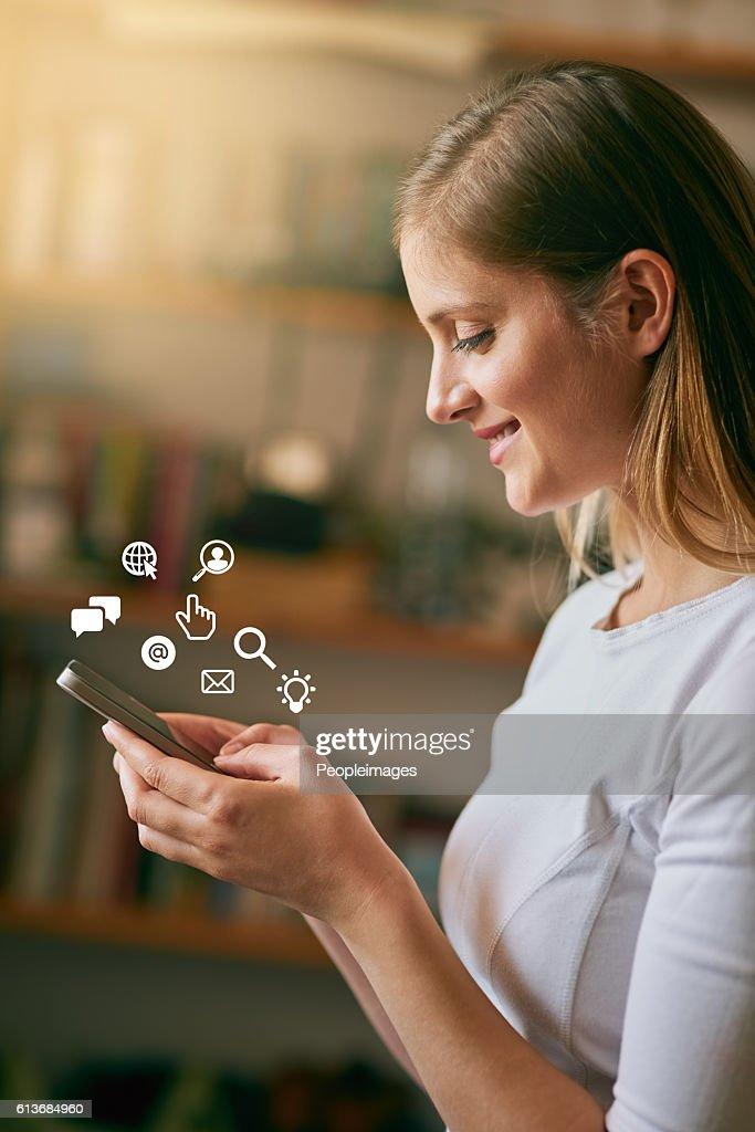She speaks fluent tech : Stock Photo