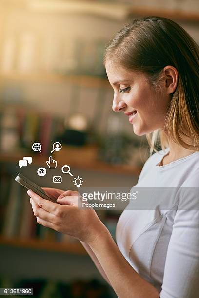 she speaks fluent tech - phone icon stock pictures, royalty-free photos & images