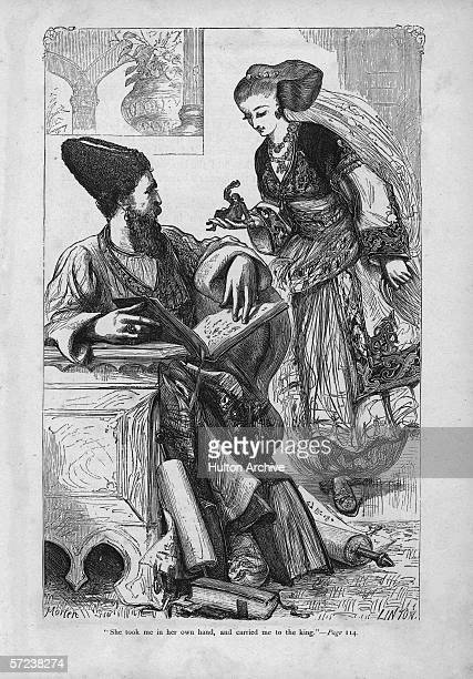 'She took me in her own hand and carried me to the king' an illustration from Jonathan Swift's satirical novel 'Gullivers's Travels' 1726 The queen...