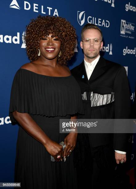 Shea Diamond and Justin Tranter attends the 29th Annual GLAAD Media Awards at The Beverly Hilton Hotel on April 12 2018 in Beverly Hills California