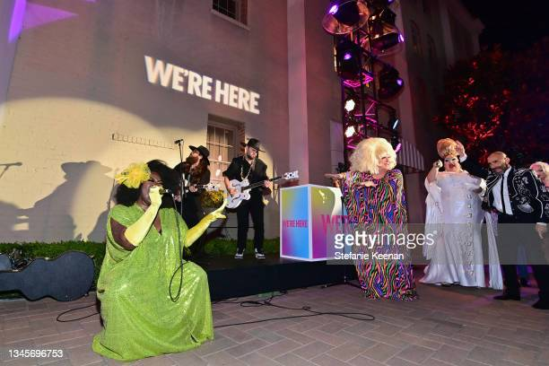 """Shea Diamond and Lady Bunny speak during the """"We're Here"""" Season 2 Premiere at Sony Pictures Studios on October 08, 2021 in Culver City, California."""
