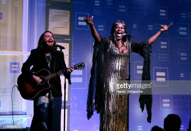 Shea Diamond performs onstage during The Human Rights Campaign 2019 Los Angeles Gala Dinner at JW Marriott Los Angeles at L.A. LIVE on March 30, 2019...