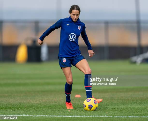 Shea Groom of the USWNT dribbles during a training session at Dick's Sporting Goods Park training fields on October 20 2020 in Commerce City Colorado