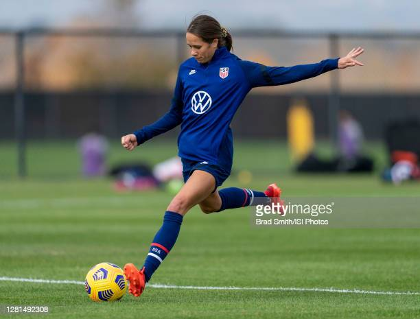 Shea Groom of the USWNT takes a shot during a training session at Dick's Sporting Goods Park training fields on October 20 2020 in Commerce City...