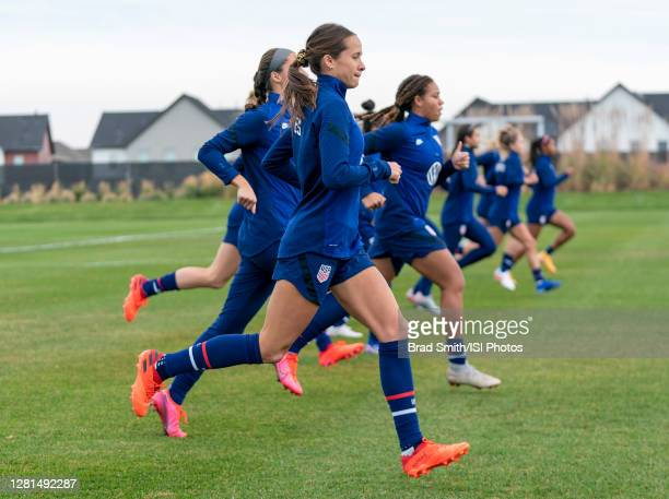 Shea Groom of the USWNT warms up during a training session at Dick's Sporting Goods Park training fields on October 20 2020 in Commerce City Colorado