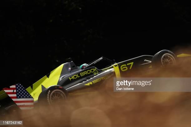 Shea Holbrook of the United States drives a Tatuus F3 T-318 during practice for the sixth and final round of the W Series at Brands Hatch on August...