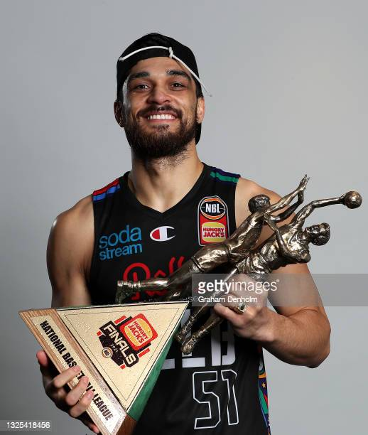 Shea Ili of United poses following victory in game three of the NBL Grand Final Series between Melbourne United and the Perth Wildcats at John Cain...