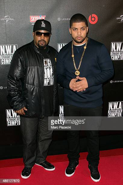 O'Shea Jackson aka Ice Cube and son O'Shea Jackson Jr attend the 'NWA Straight Outta Compton' Premiere at UGC Cine Cite Bercy on August 24 2015 in...