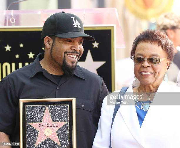 Shea Jackson Jr aka Ice Cube with his mom Doris Benjamin attend the ceremony honoring Ice Cube with a Star on The Hollywood Walk of Fame held on June...
