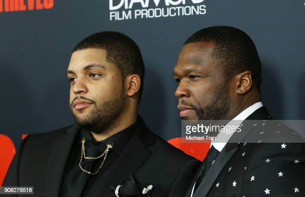 Shea Jackson Jr and Curtis '50 Cent' Jackson arrive to Los Angeles premiere of STX Films' 'Den Of Thieves' held at Regal LA Live Stadium 14 on...