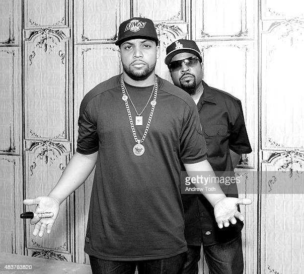 O'Shea Jackson Jr and Ice Cube attend AOL BUILD Speaker Series Presents 'Straight Outta Compton' at AOL Studios In New York on August 5 2015 in New...