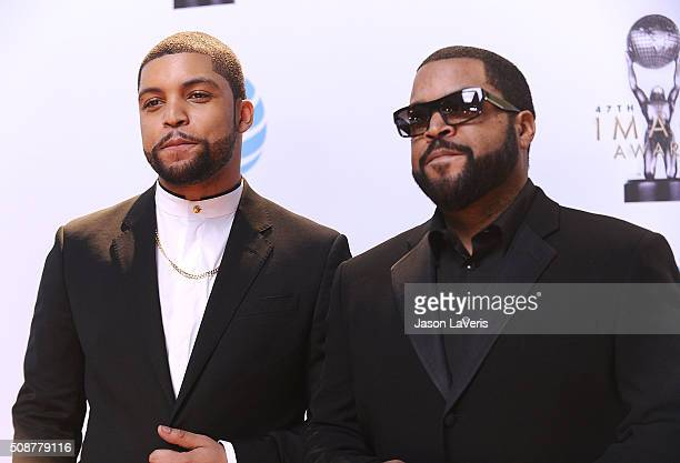 Shea Jackson Jr and Ice Cube attend the 47th NAACP Image Awards at Pasadena Civic Auditorium on February 5 2016 in Pasadena California