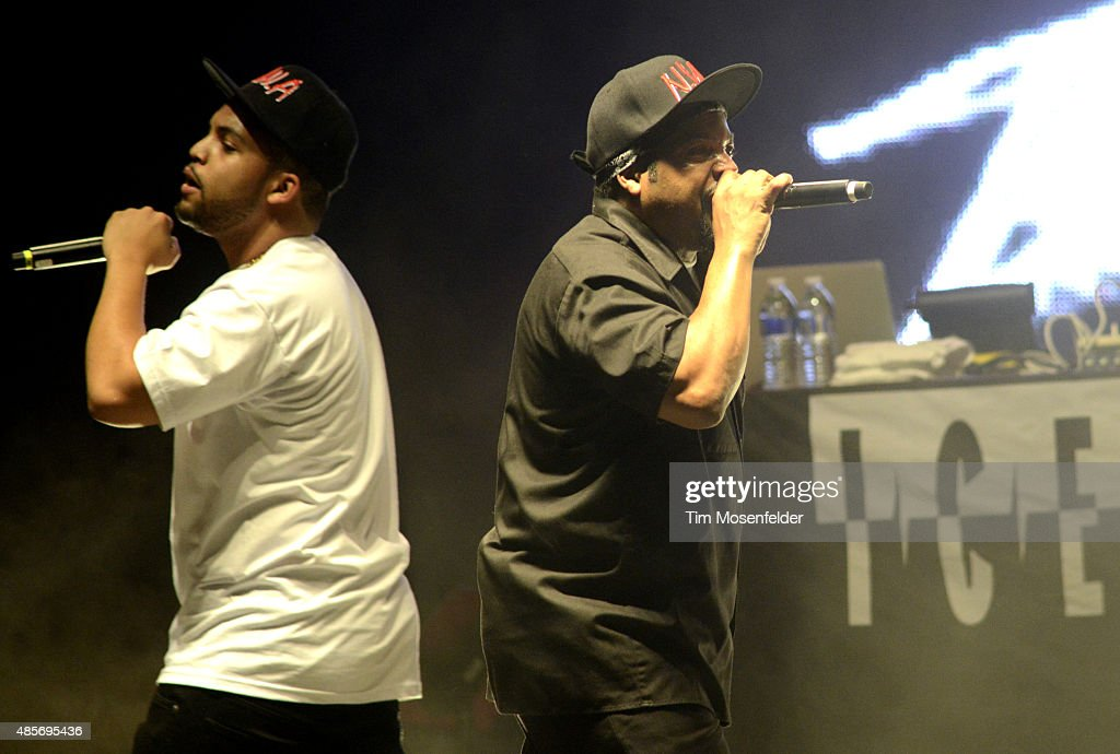 O'Shea Jackson Jr. (L) and Ice Cube perform 'Straight Outta Compton' during Riot Fest at the National Western Complex on August 28, 2015 in Denver, Colorado.