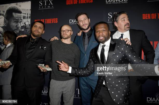 Shea Jackson Jr Evan Jones Pablo Schreiber 50 Cent and Christian Gudegast attend the premiere of STX Films' Den of Thieves at Regal LA Live Stadium...