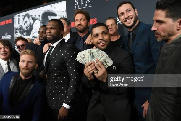 Shea Jackson Jr Gerard Butler Pablo Schreiber 50 Cent and cast attend the premiere of STX Films' Den of Thieves at Regal LA Live Stadium 14 on...