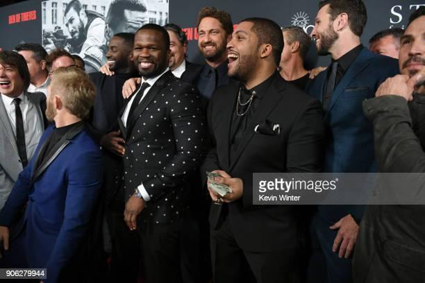 Shea Jackson Jr Gerard Butler Pablo Schreiber 50 Cent and cast attend the premiere of STX Films' 'Den of Thieves' at Regal LA Live Stadium 14 on...