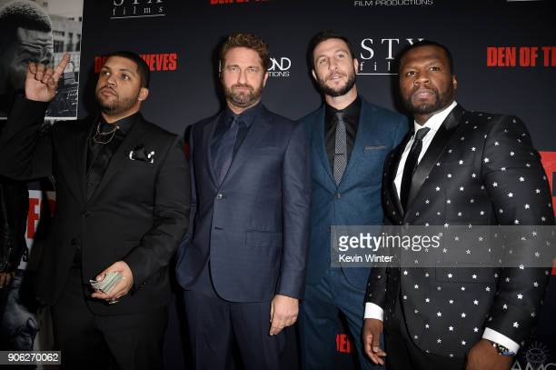 O'Shea Jackson Jr Gerard Butler Pablo Schreiber and 50 Cent attend the premiere of STX Films' 'Den of Thieves' at Regal LA Live Stadium 14 on January...