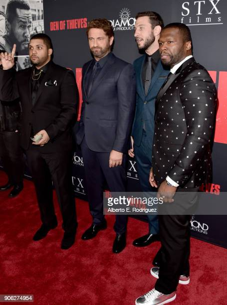 O'Shea Jackson Jr Gerard Butler Pablo Schreiber and 50 Cent attend the premiere of STX Films' Den of Thieves at Regal LA Live Stadium 14 on January...