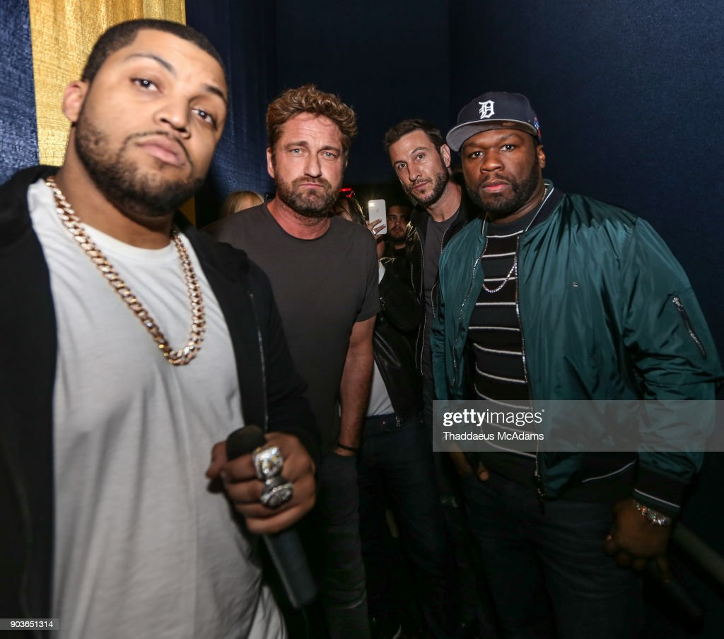 O'Shea Jackson Jr, Gerard Butler Pablo Schreiber and Curtis '50 Cent' Jackson attend The Den of Thieves Special screening at Regal South Beach on January 10, 2018 in Miami, Florida.
