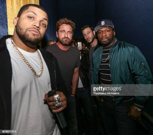 O'Shea Jackson Jr Gerard Butler Pablo Schreiber and Curtis '50 Cent' Jackson attend The Den of Thieves Special screening at Regal South Beach on...