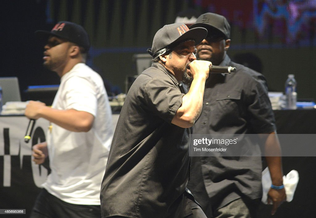 O'Shea Jackson Jr., MC Ren and Ice Cube perform 'Straight Outta Compton' during Riot Fest at the National Western Complex on August 28, 2015 in Denver, Colorado.