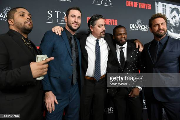 O'Shea Jackson Jr Pablo Schreiber Christian Gudegast 50 Cent and Gerard Butler attend the premiere of STX Films' 'Den of Thieves' at Regal LA Live...