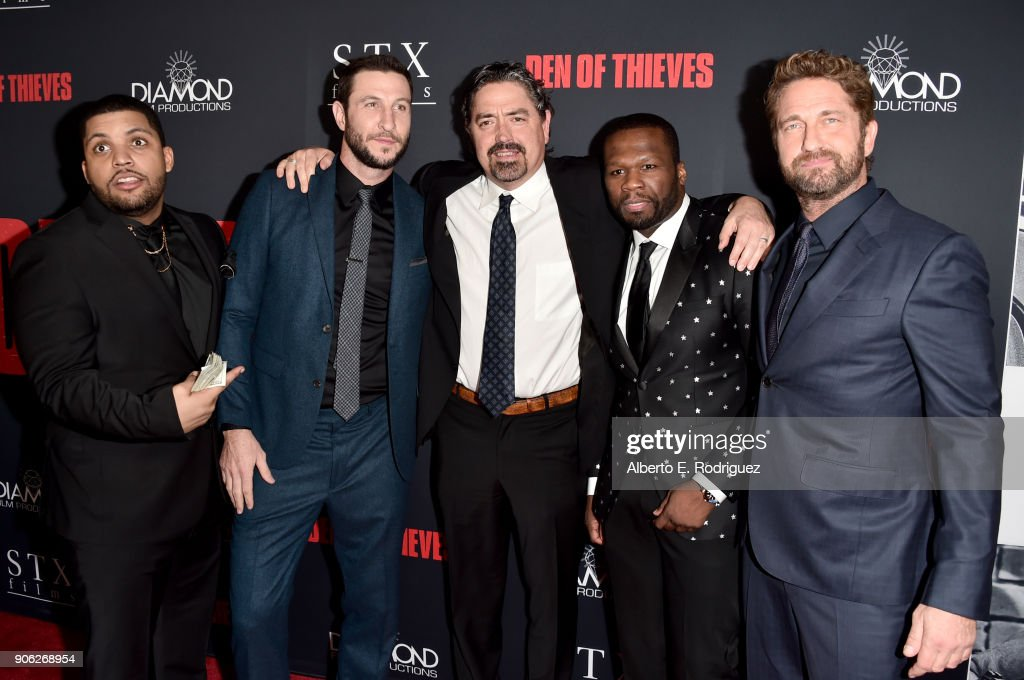 O'Shea Jackson Jr., Pablo Schreiber, Christian Gudegast, 50 Cent and Gerard Butler attend the premiere of STX Films' 'Den of Thieves' at Regal LA Live Stadium 14 on January 17, 2018 in Los Angeles, California.