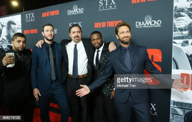 Shea Jackson Jr Pablo Schreiber Christian Gudegast Curtis 50 Cent Jackson and Gerard Butler arrive to Los Angeles premiere of STX Films' Den Of...