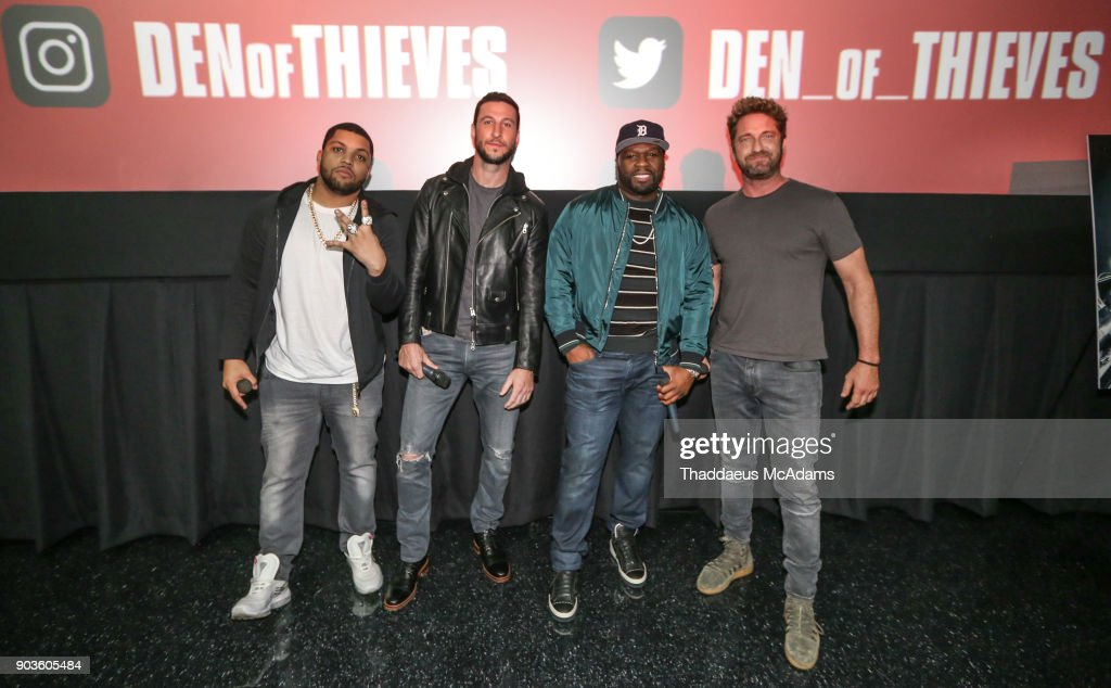 O'Shea Jackson Jr, Pablo Schreiber, Curtis '50 Cent' Jackson and Gerard Butler, open up the Den of Thieves special screening at Regal South Beach on January 10, 2018 in Miami, Florida.