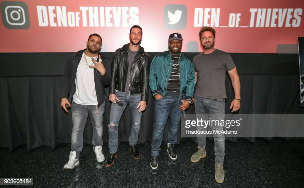 O'Shea Jackson Jr Pablo Schreiber Curtis '50 Cent' Jackson and Gerard Butler open up the Den of Thieves special screening at Regal South Beach on...