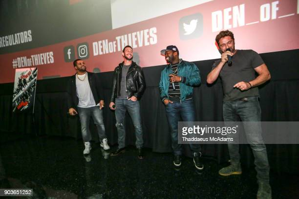 O'Shea Jackson Jr Pablo Schreiber Curtis '50 Cent' Jackson and Gerard Butler attend The Den of Thieves Special screening at Regal South Beach on...